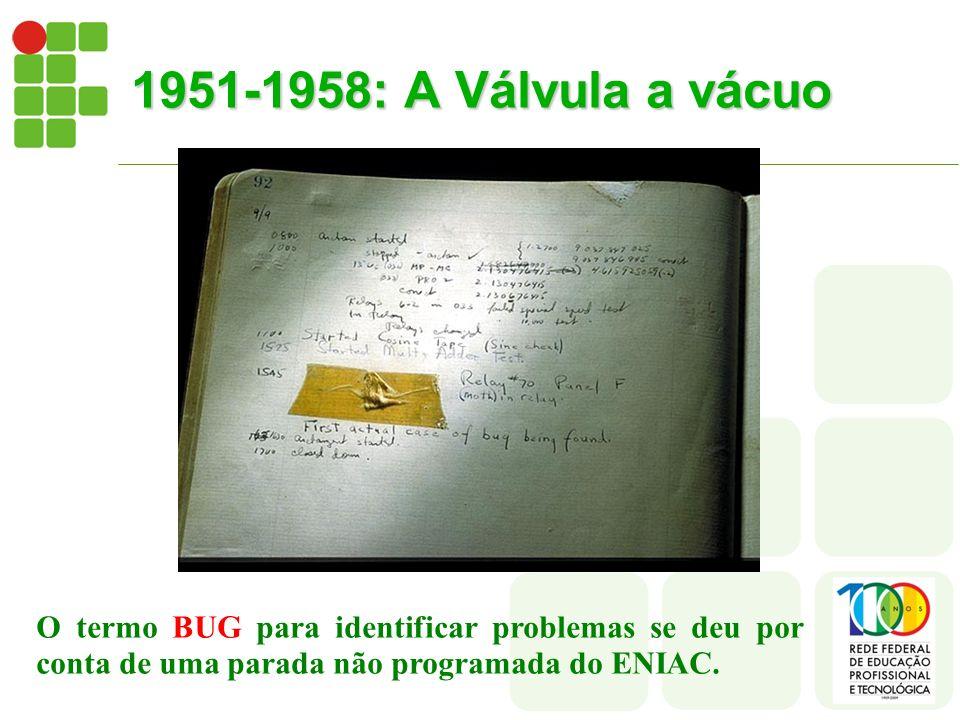 1951-1958: A Válvula a vácuo O termo BUG para identificar problemas se deu por conta de uma parada não programada do ENIAC.