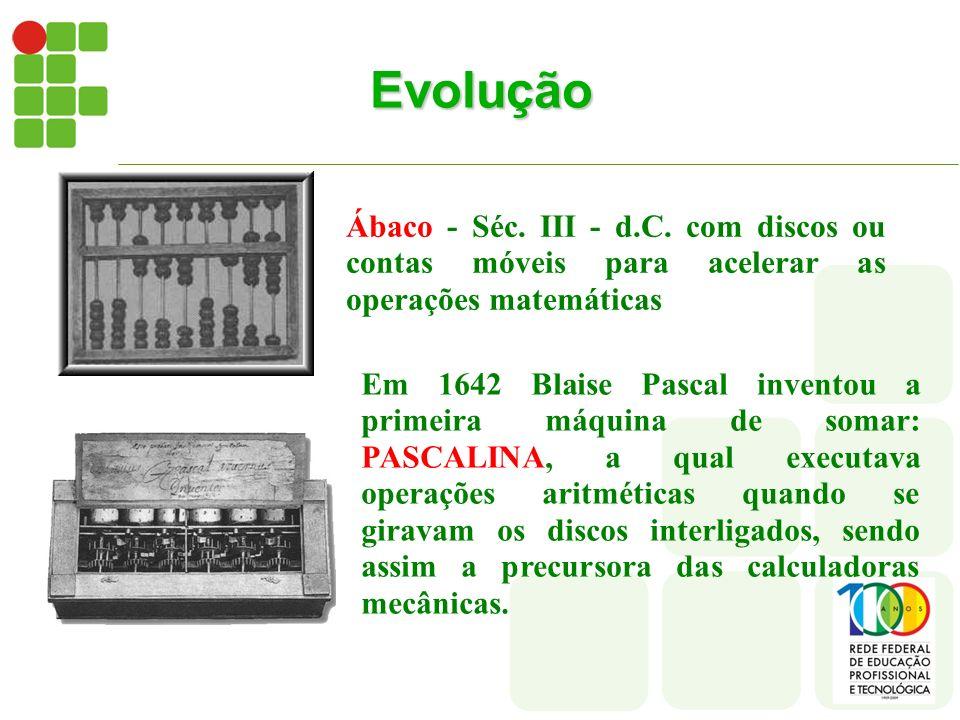 Evolução Ábaco - Séc. III - d.C. com discos ou contas móveis para acelerar as operações matemáticas.