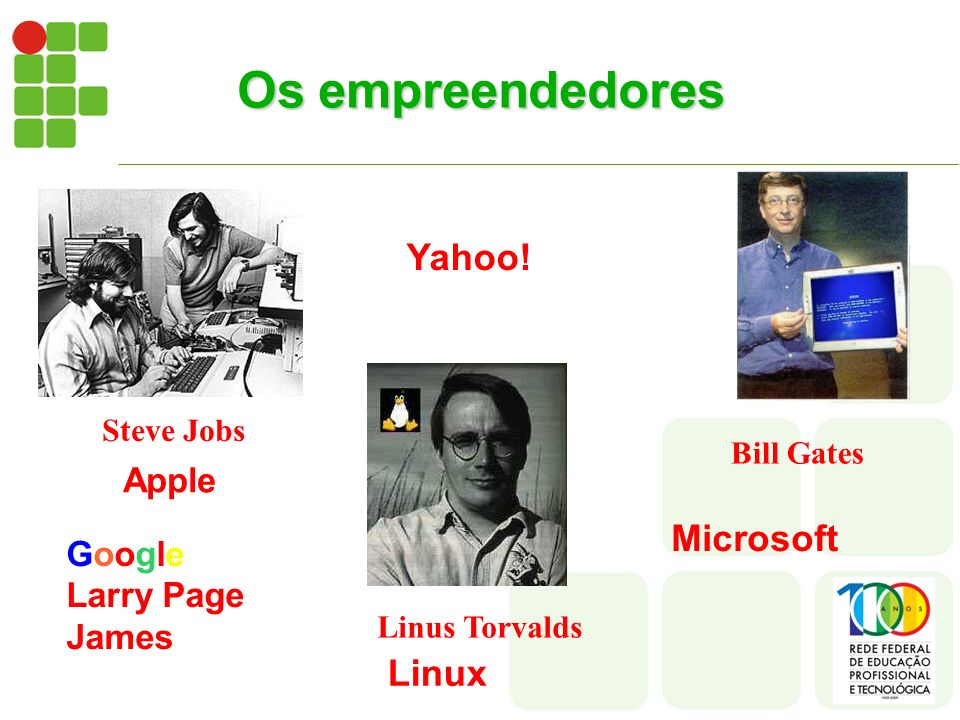 Os empreendedores Yahoo! Microsoft Linux Apple Google Larry Page James