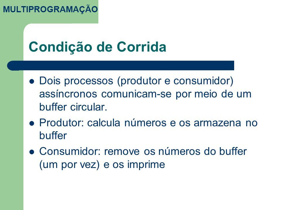 MULTIPROGRAMAÇÃO Condição de Corrida. Dois processos (produtor e consumidor) assíncronos comunicam-se por meio de um buffer circular.