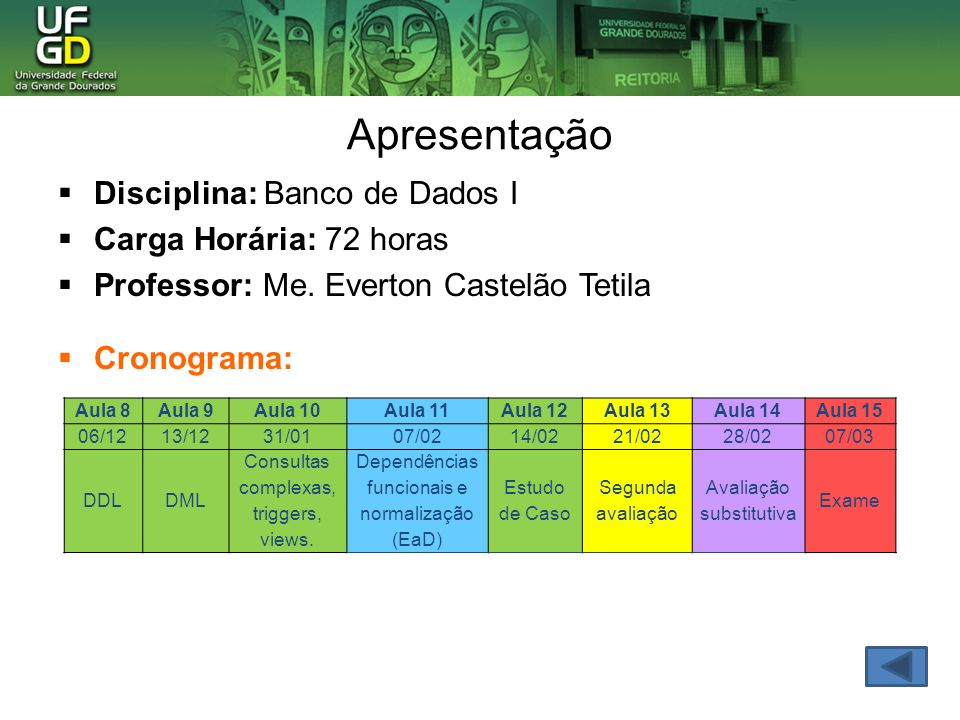 Apresentação Disciplina: Banco de Dados I Carga Horária: 72 horas