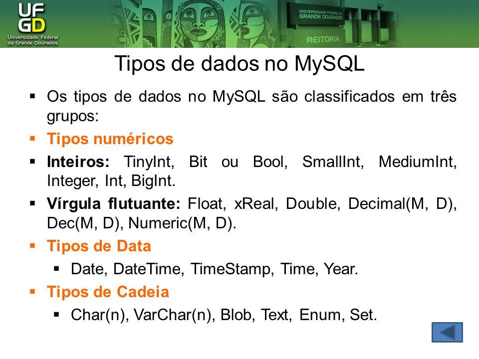 Tipos de dados no MySQL Os tipos de dados no MySQL são classificados em três grupos: Tipos numéricos.