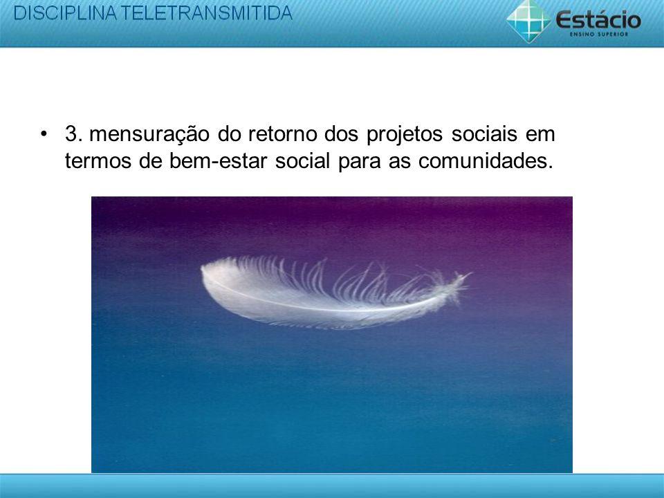 3. mensuração do retorno dos projetos sociais em termos de bem-estar social para as comunidades.