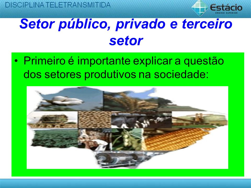 Setor público, privado e terceiro setor