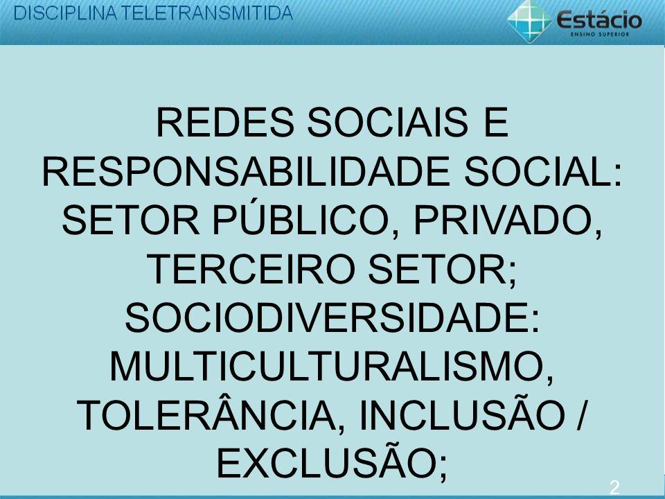 REDES SOCIAIS E RESPONSABILIDADE SOCIAL: SETOR PÚBLICO, PRIVADO, TERCEIRO SETOR; SOCIODIVERSIDADE: MULTICULTURALISMO, TOLERÂNCIA, INCLUSÃO / EXCLUSÃO;