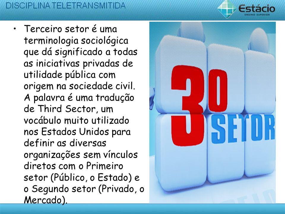 Terceiro setor é uma terminologia sociológica que dá significado a todas as iniciativas privadas de utilidade pública com origem na sociedade civil.