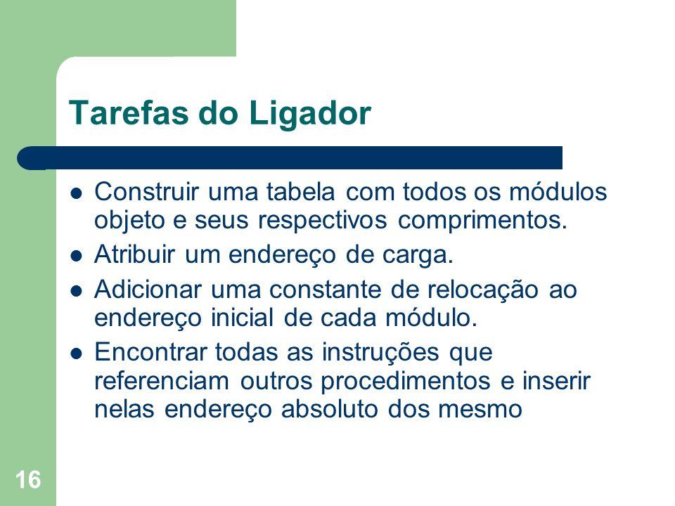 Tarefas do Ligador Construir uma tabela com todos os módulos objeto e seus respectivos comprimentos.