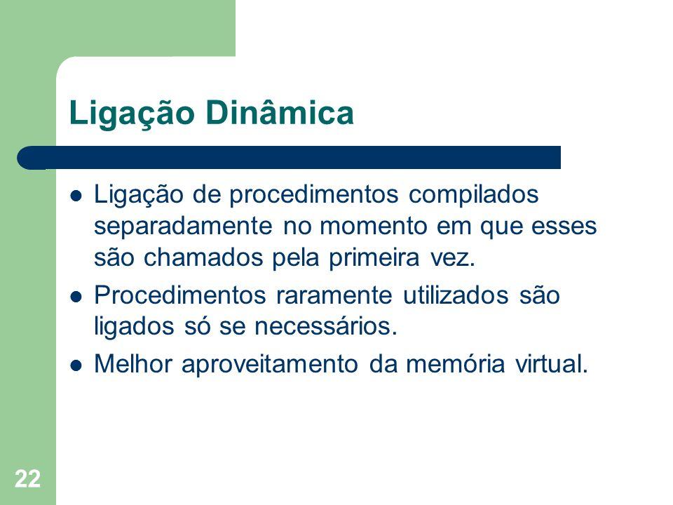 Ligação Dinâmica Ligação de procedimentos compilados separadamente no momento em que esses são chamados pela primeira vez.