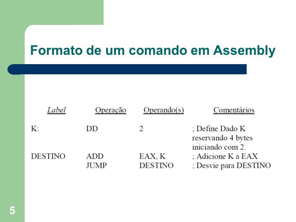 Formato de um comando em Assembly