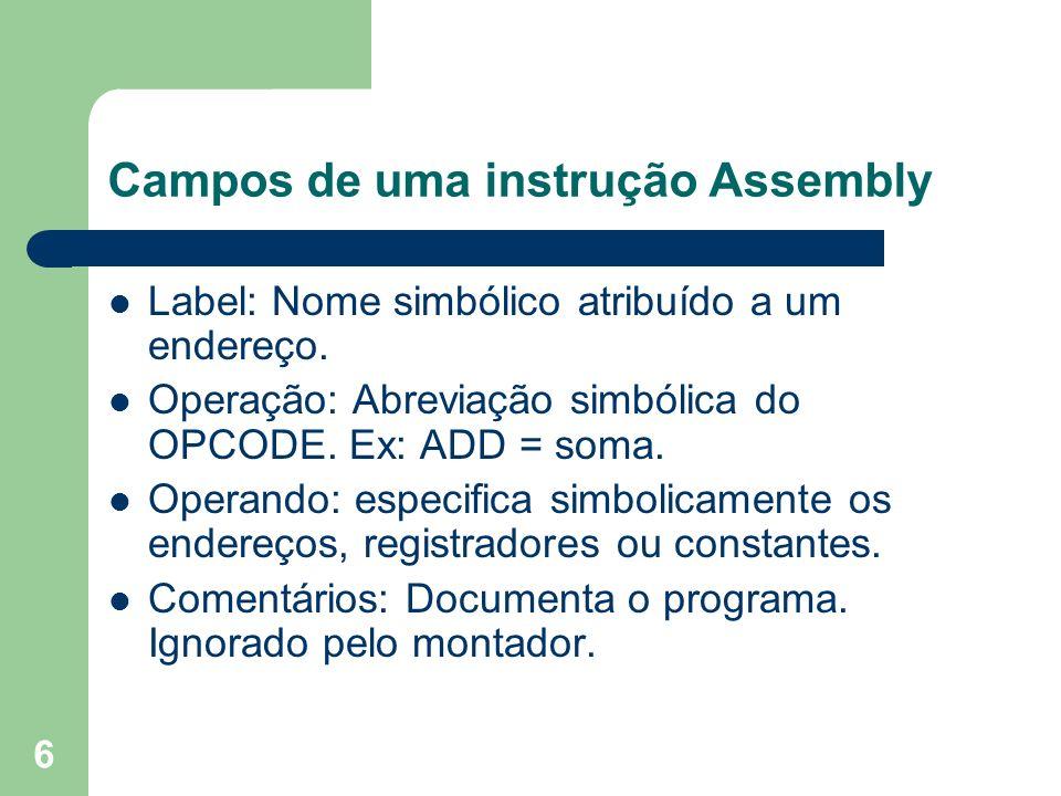 Campos de uma instrução Assembly