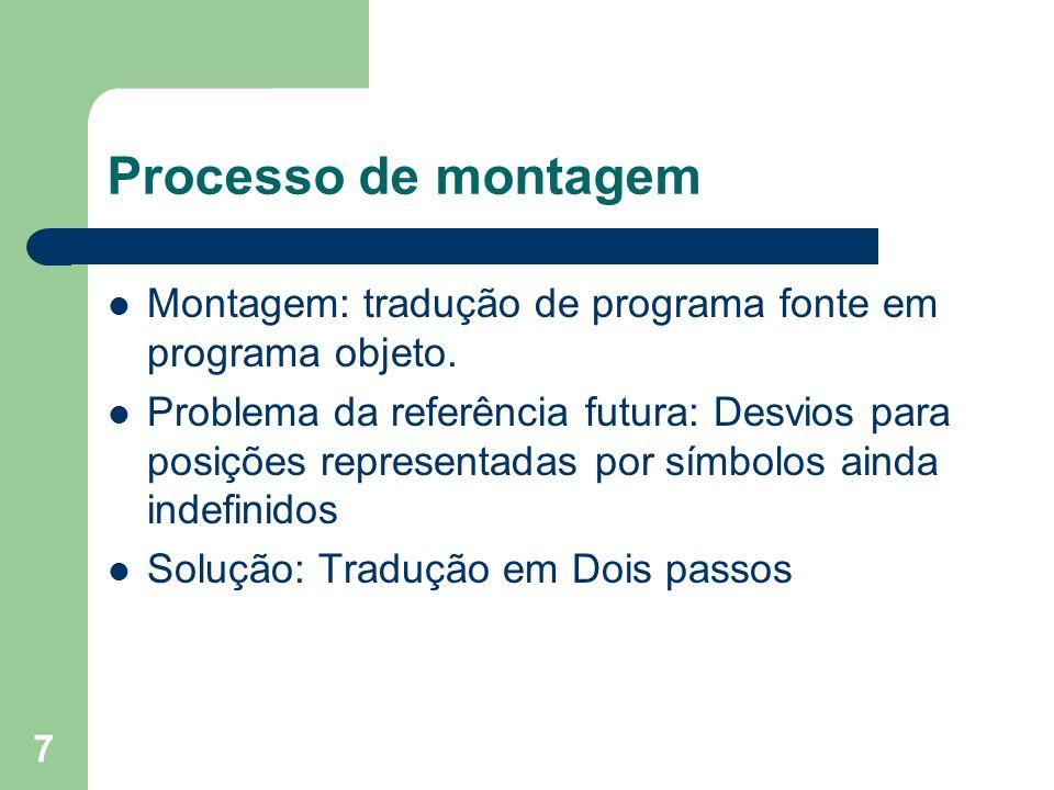 Processo de montagem Montagem: tradução de programa fonte em programa objeto.