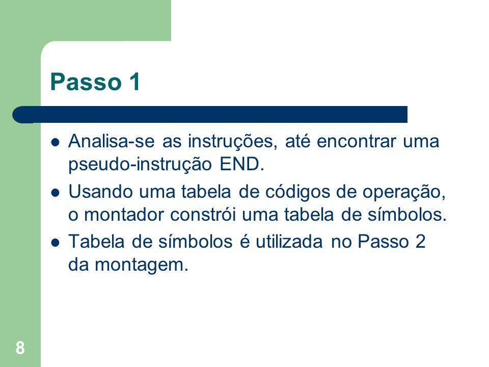 Passo 1 Analisa-se as instruções, até encontrar uma pseudo-instrução END.