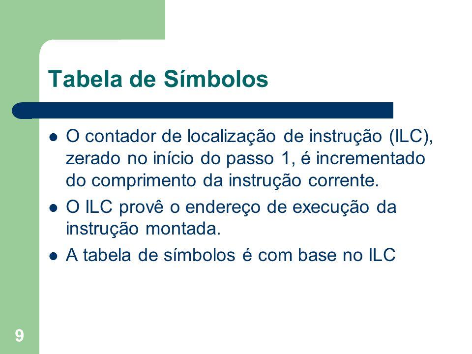 Tabela de Símbolos O contador de localização de instrução (ILC), zerado no início do passo 1, é incrementado do comprimento da instrução corrente.