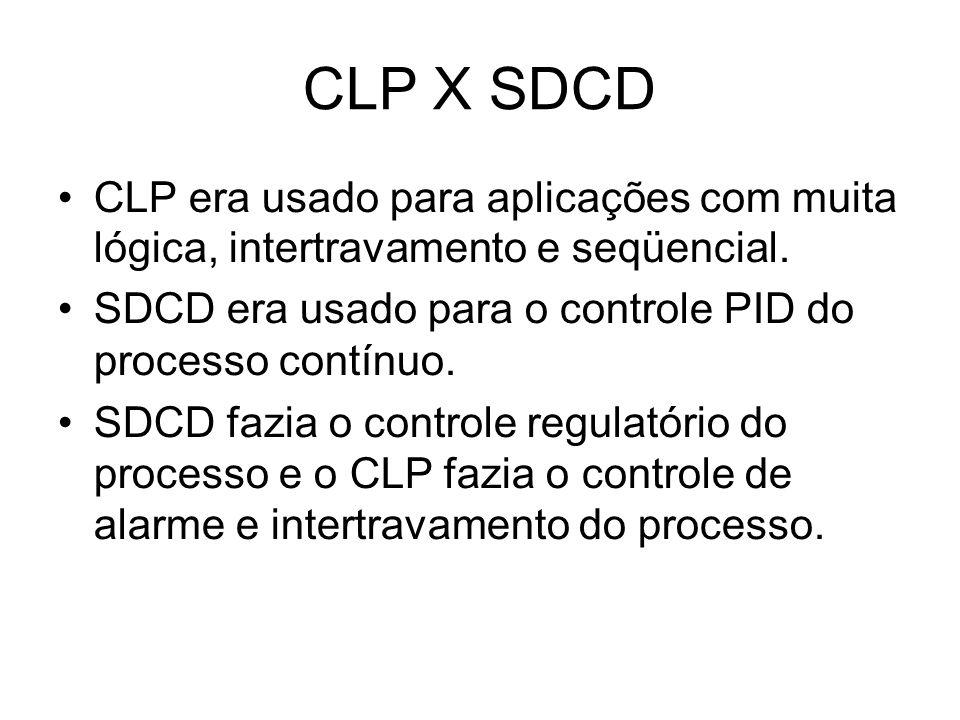 CLP X SDCD CLP era usado para aplicações com muita lógica, intertravamento e seqüencial. SDCD era usado para o controle PID do processo contínuo.