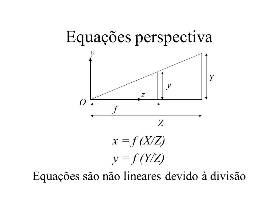 Equações são não lineares devido à divisão