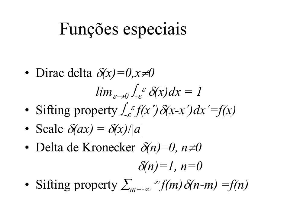 Funções especiais Dirac delta (x)=0,x0 lim0 - (x)dx = 1