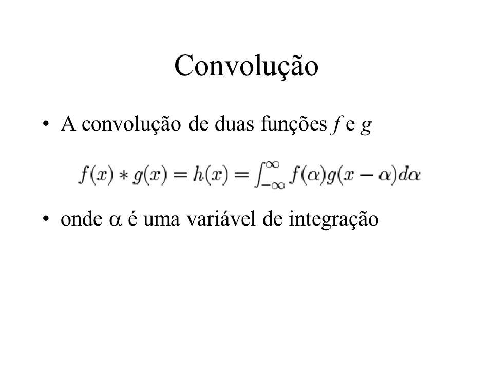 Convolução A convolução de duas funções f e g