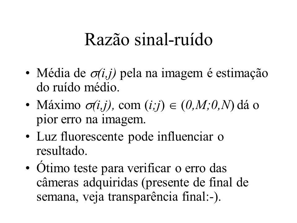 Razão sinal-ruído Média de (i,j) pela na imagem é estimação do ruído médio. Máximo (i,j), com (i;j)  (0,M;0,N) dá o pior erro na imagem.