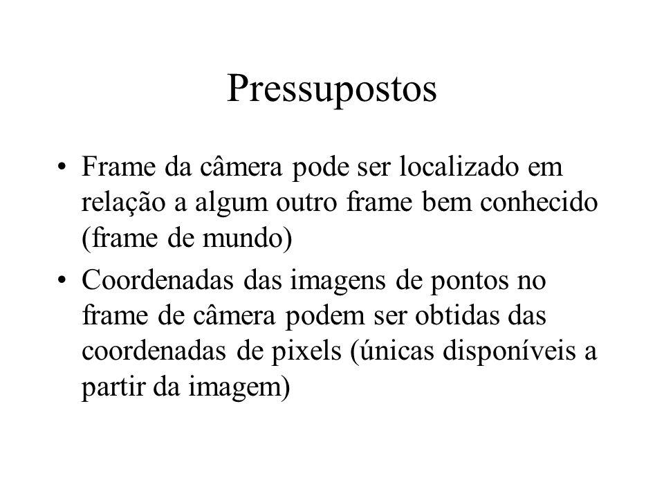 Pressupostos Frame da câmera pode ser localizado em relação a algum outro frame bem conhecido (frame de mundo)