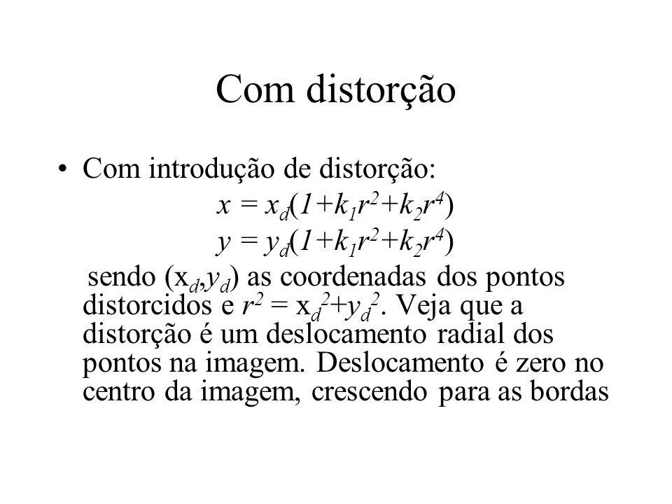 Com distorção Com introdução de distorção: x = xd(1+k1r2+k2r4)