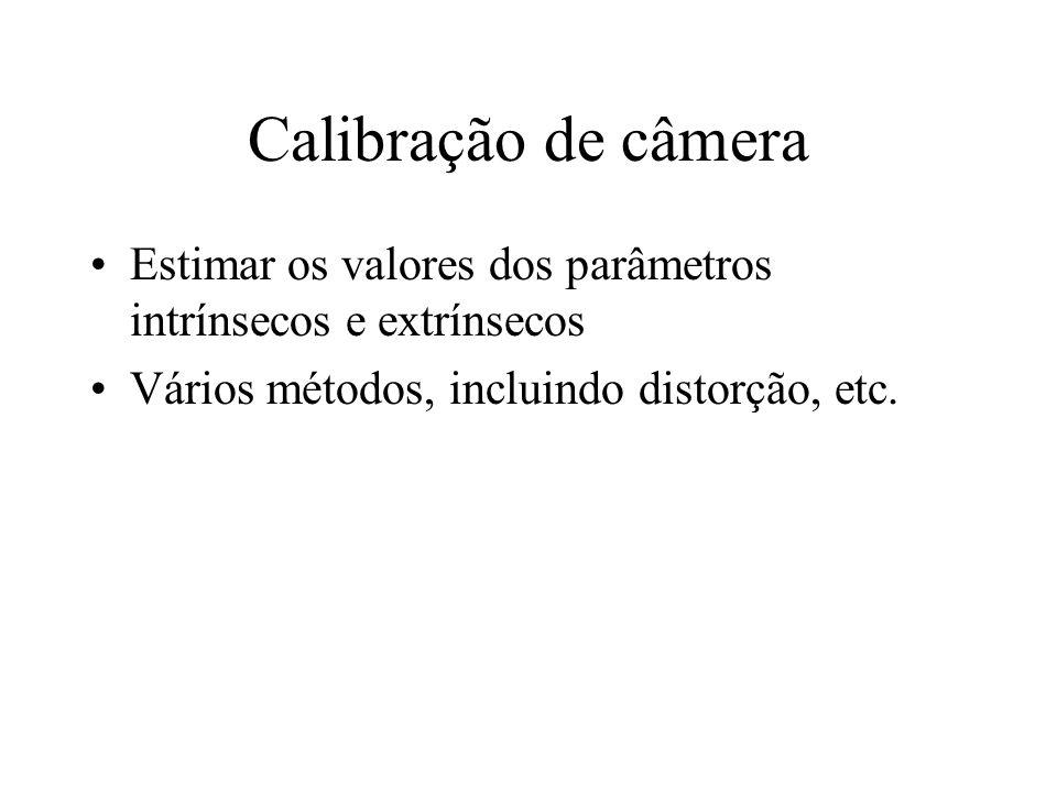 Calibração de câmeraEstimar os valores dos parâmetros intrínsecos e extrínsecos.