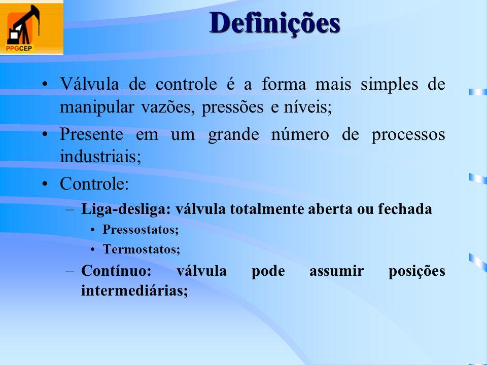 Definições Válvula de controle é a forma mais simples de manipular vazões, pressões e níveis; Presente em um grande número de processos industriais;