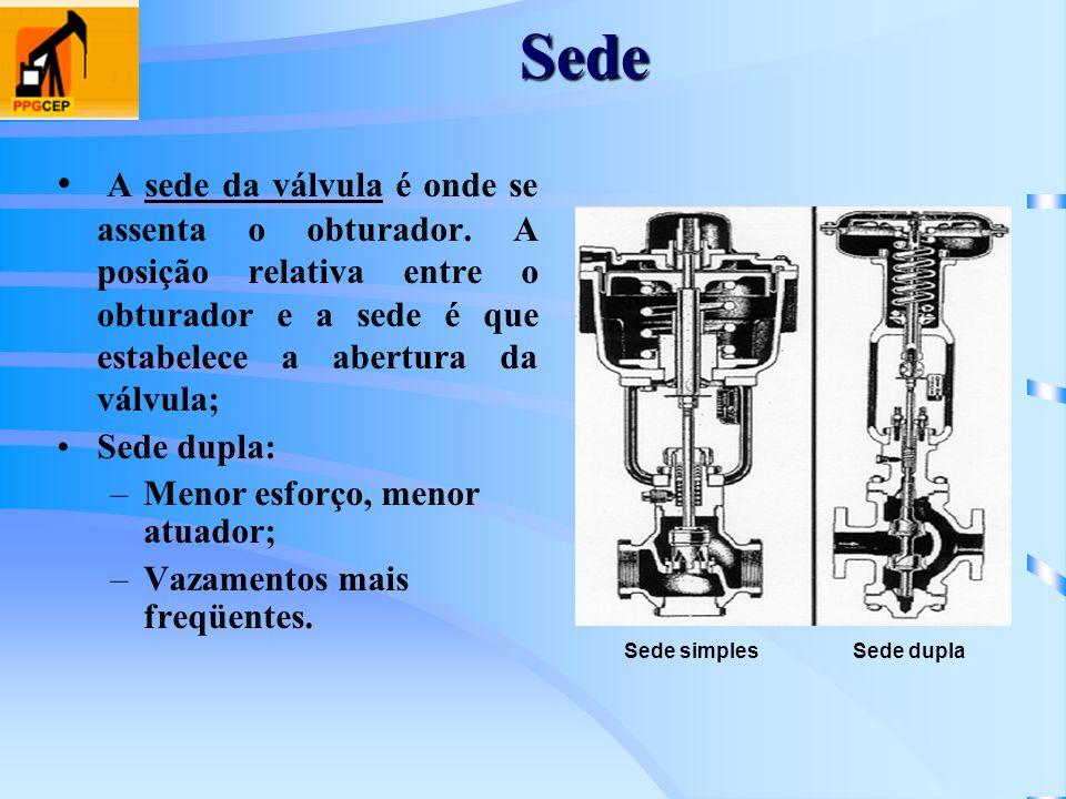 Sede A sede da válvula é onde se assenta o obturador. A posição relativa entre o obturador e a sede é que estabelece a abertura da válvula;