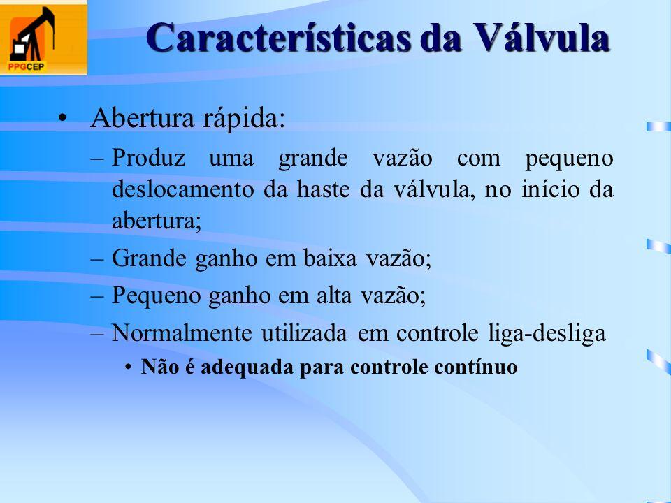 Características da Válvula