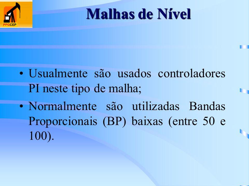 Malhas de Nível Usualmente são usados controladores PI neste tipo de malha;