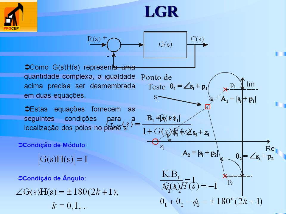 LGRComo G(s)H(s) representa uma quantidade complexa, a igualdade acima precisa ser desmembrada em duas equações.