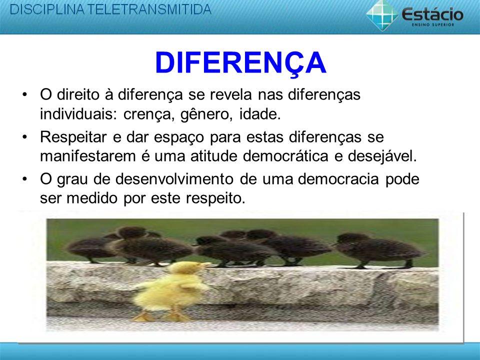 DIFERENÇA O direito à diferença se revela nas diferenças individuais: crença, gênero, idade.