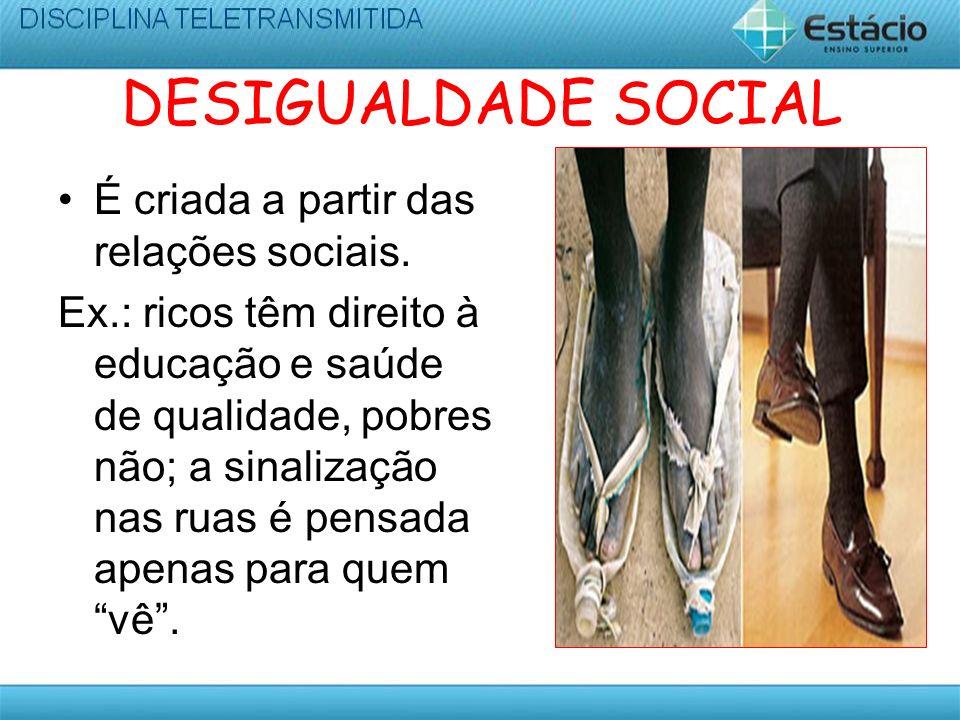 DESIGUALDADE SOCIAL É criada a partir das relações sociais.