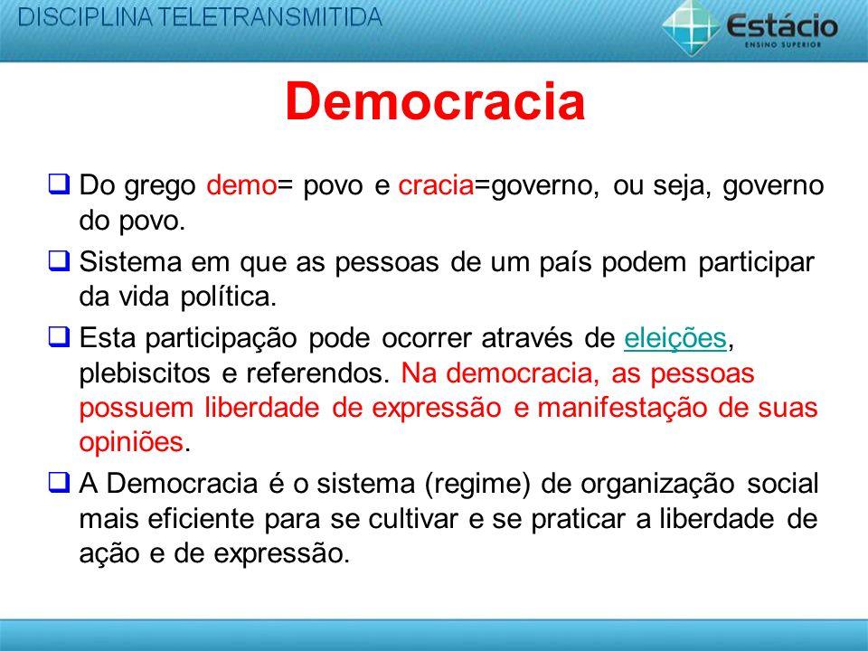 Democracia Do grego demo= povo e cracia=governo, ou seja, governo do povo. Sistema em que as pessoas de um país podem participar da vida política.