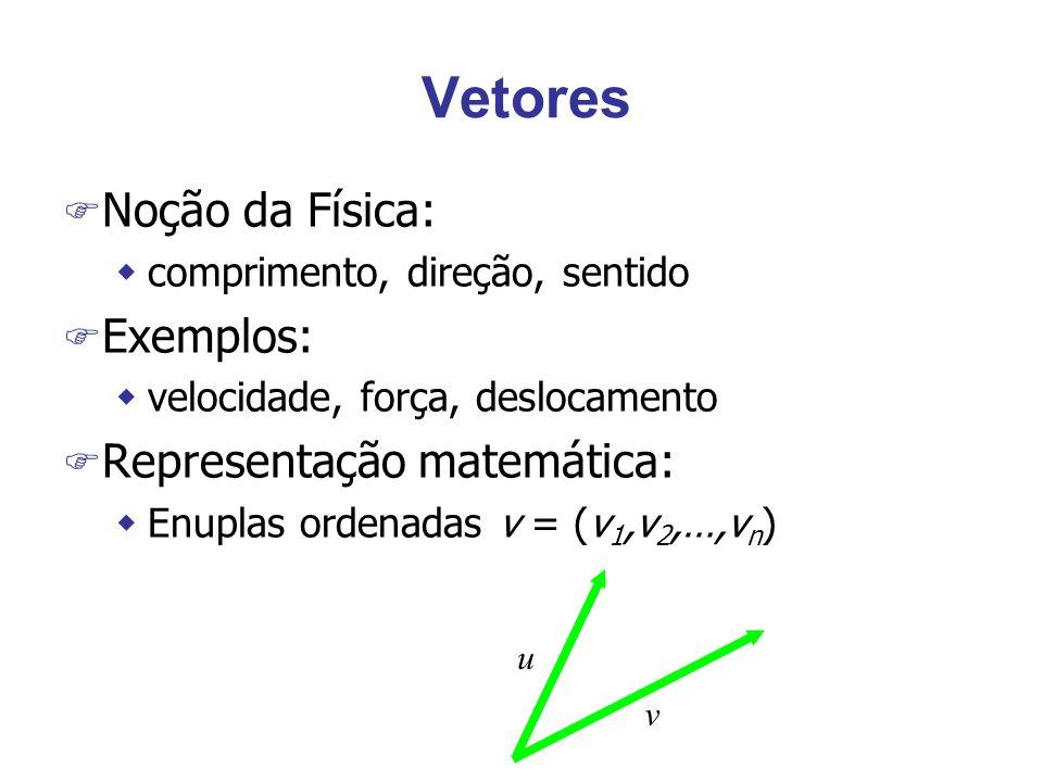 Vetores Noção da Física: Exemplos: Representação matemática: