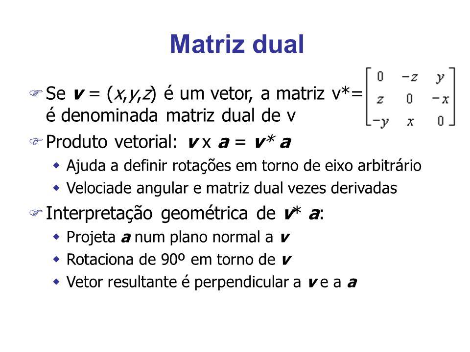 Matriz dual Se v = (x,y,z) é um vetor, a matriz v*= é denominada matriz dual de v. Produto vetorial: v x a = v* a.