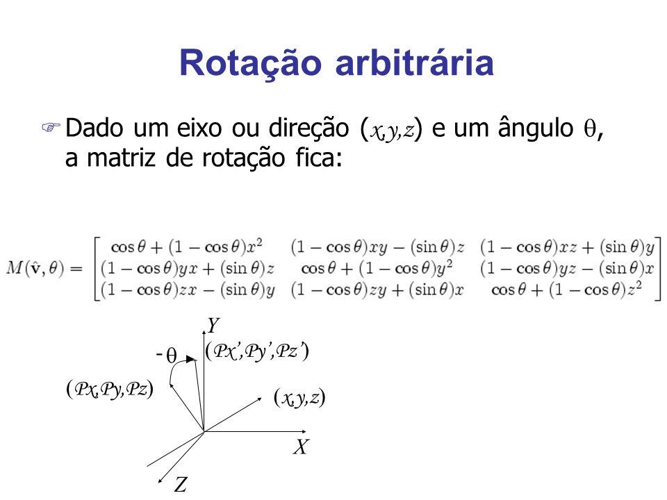 Rotação arbitráriaDado um eixo ou direção (x,y,z) e um ângulo , a matriz de rotação fica: Y. - (Px',Py',Pz')