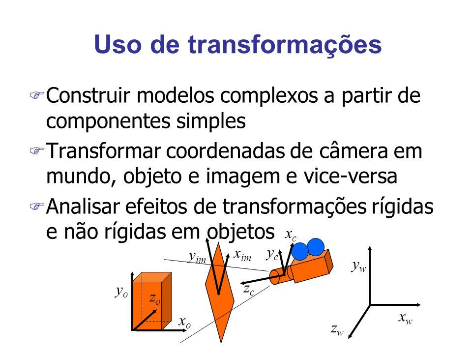 Uso de transformações Construir modelos complexos a partir de componentes simples.