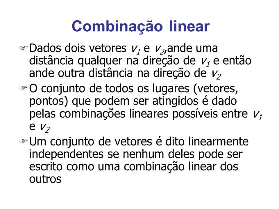 Combinação linearDados dois vetores v1 e v2,ande uma distância qualquer na direção de v1 e então ande outra distância na direção de v2.