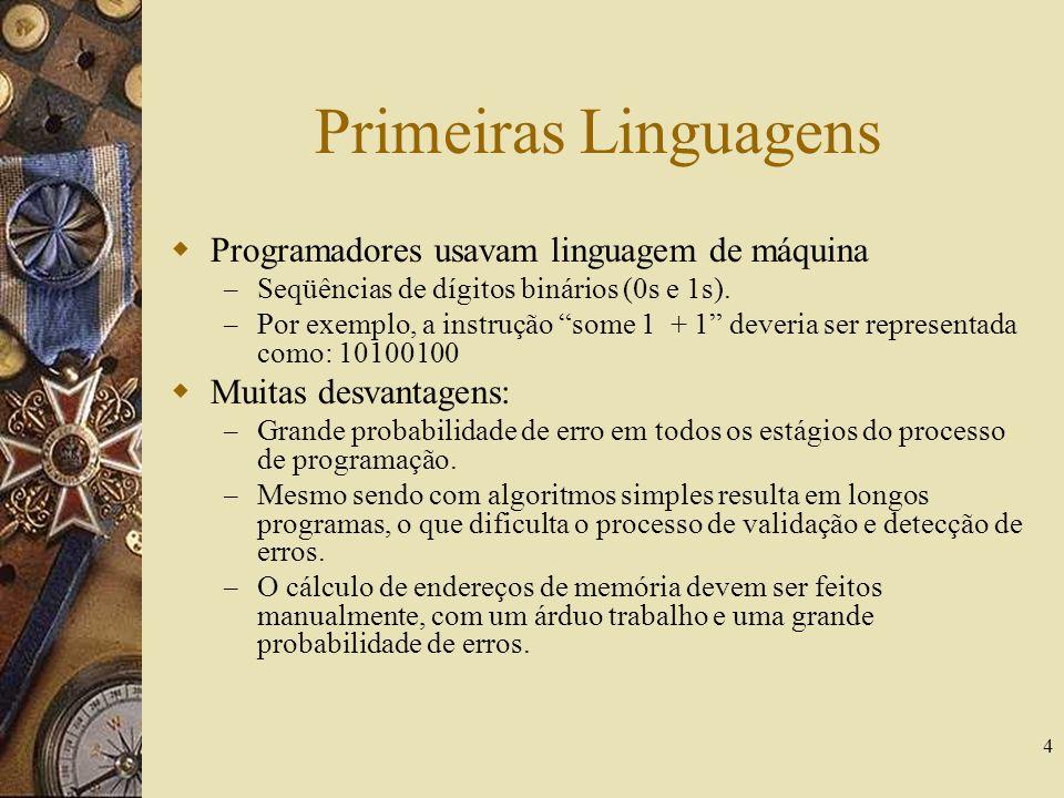 Primeiras Linguagens Programadores usavam linguagem de máquina