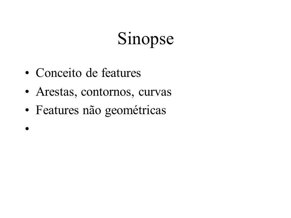 Sinopse Conceito de features Arestas, contornos, curvas