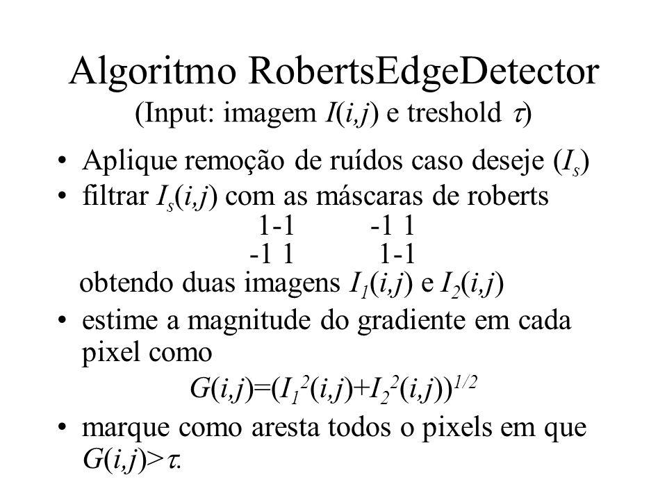 Algoritmo RobertsEdgeDetector (Input: imagem I(i,j) e treshold )