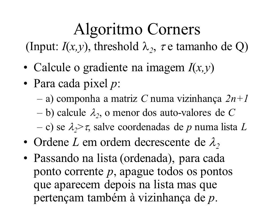 Algoritmo Corners (Input: I(x,y), threshold 2,  e tamanho de Q)