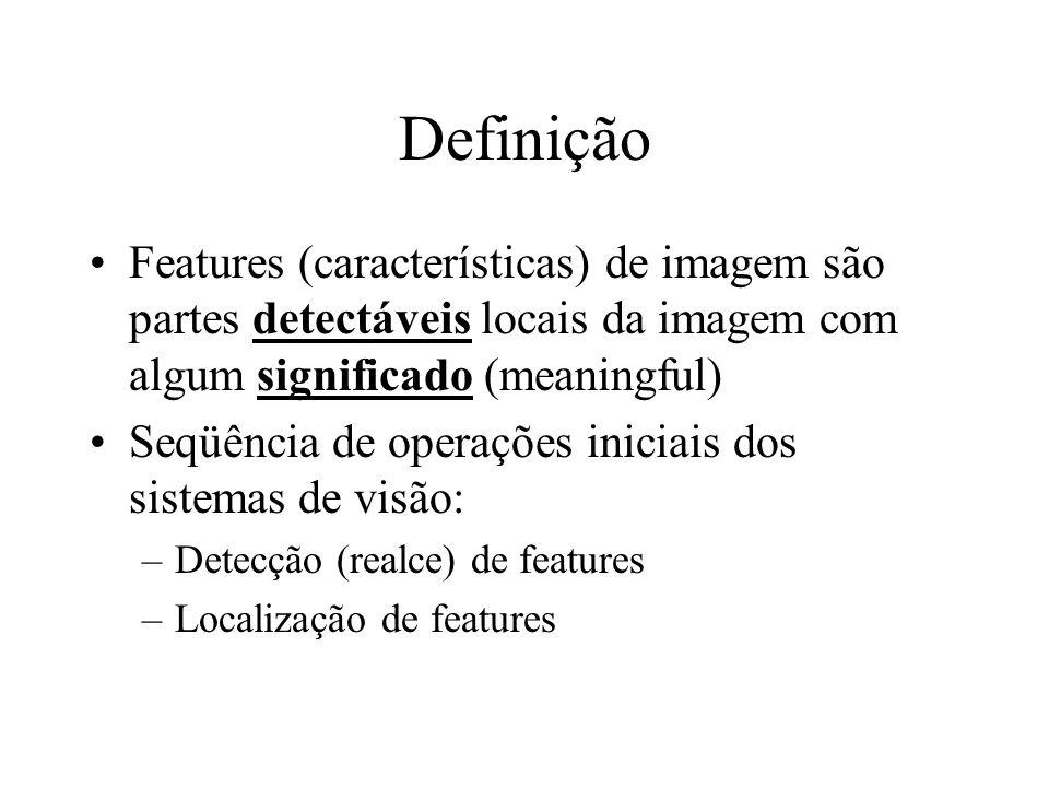 Definição Features (características) de imagem são partes detectáveis locais da imagem com algum significado (meaningful)