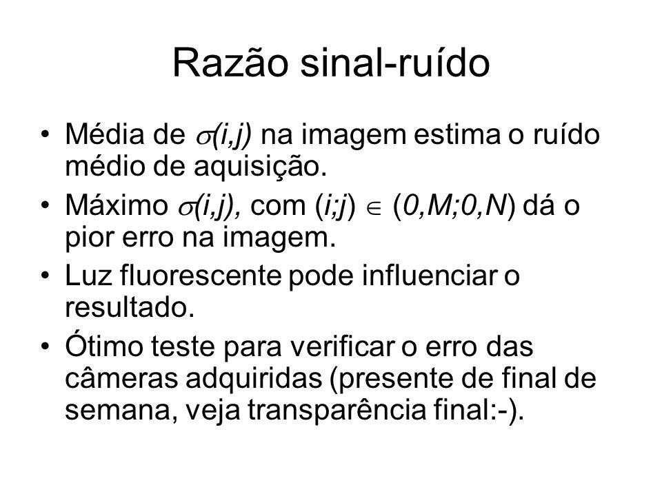 Razão sinal-ruído Média de (i,j) na imagem estima o ruído médio de aquisição. Máximo (i,j), com (i;j)  (0,M;0,N) dá o pior erro na imagem.