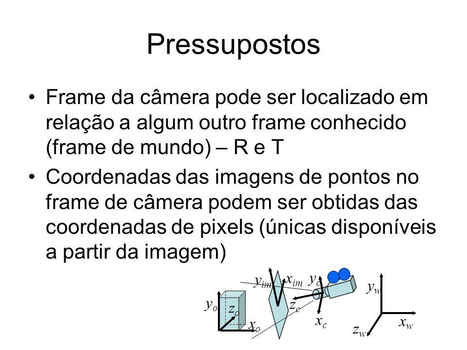 Pressupostos Frame da câmera pode ser localizado em relação a algum outro frame conhecido (frame de mundo) – R e T.