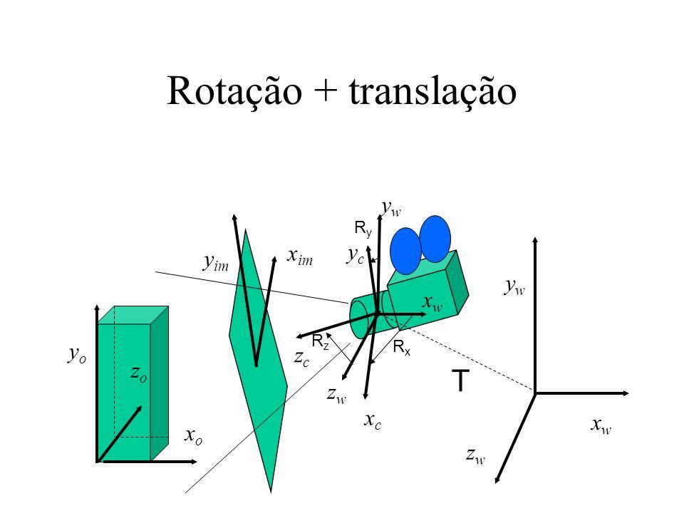 Rotação + translação T yw xim yc yim yw xw yo zc zo zw xc xw xo zw Ry