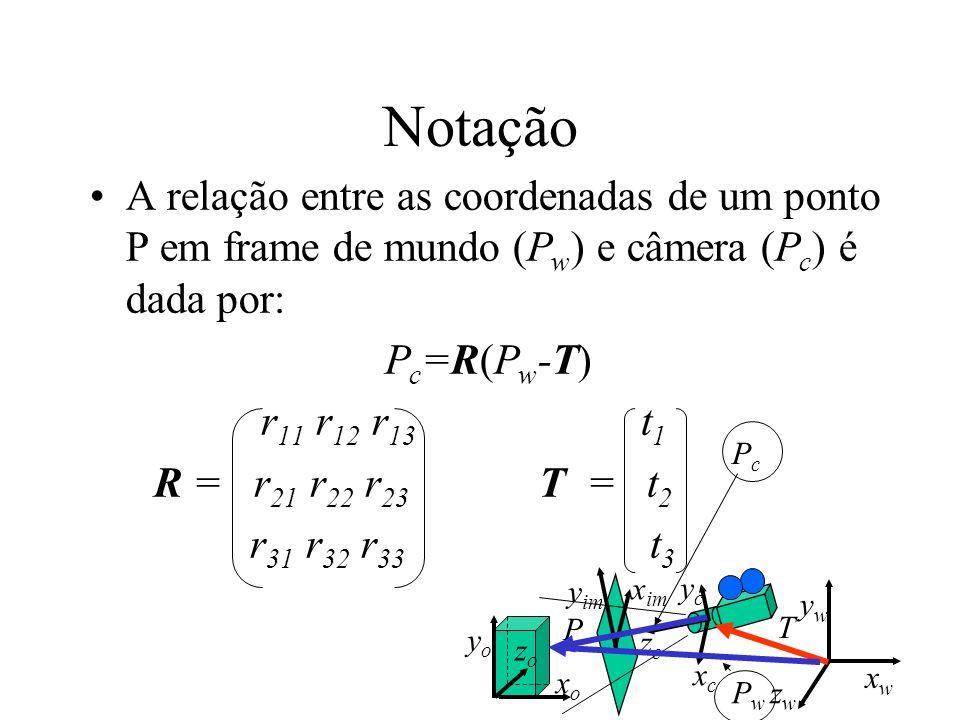 Notação A relação entre as coordenadas de um ponto P em frame de mundo (Pw) e câmera (Pc) é dada por: