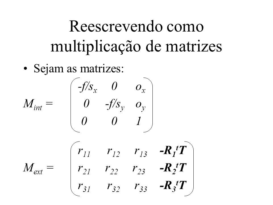 Reescrevendo como multiplicação de matrizes