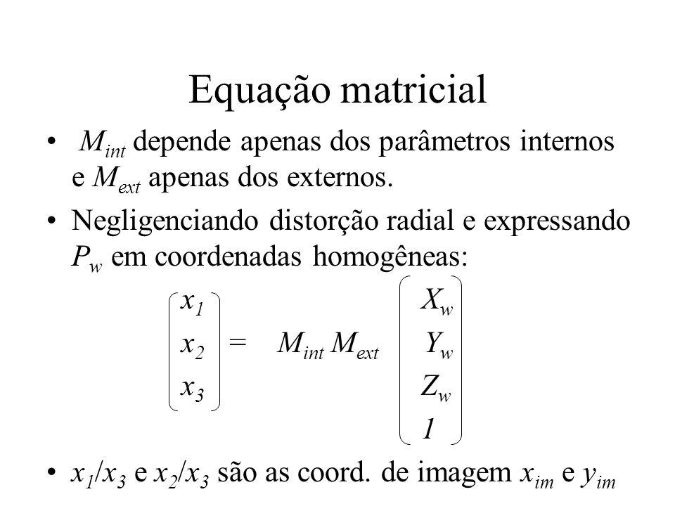 Equação matricial Mint depende apenas dos parâmetros internos e Mext apenas dos externos.