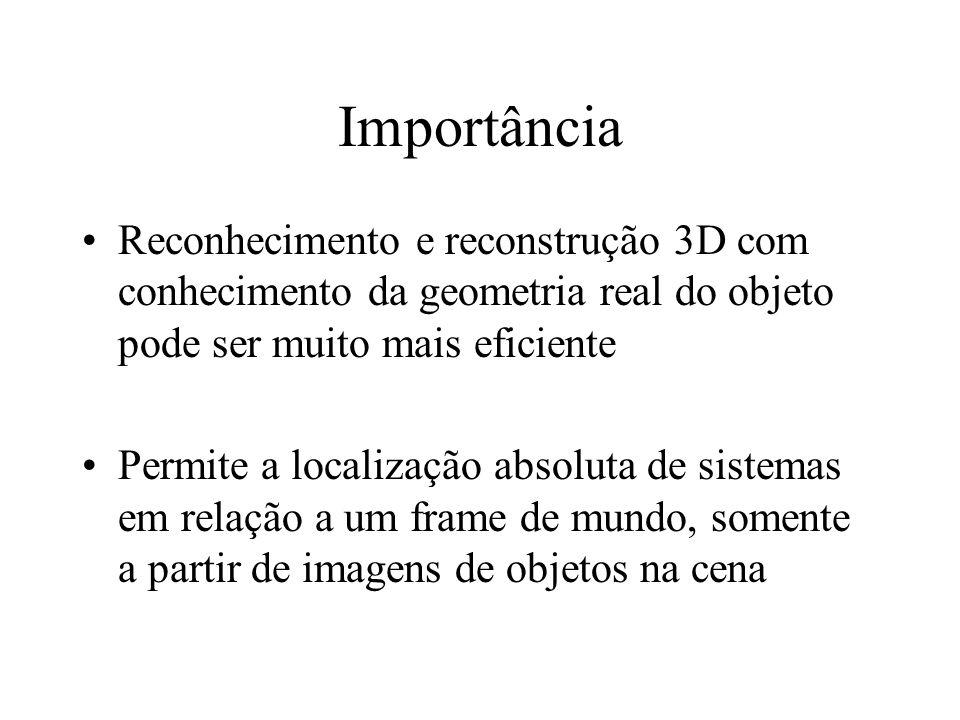Importância Reconhecimento e reconstrução 3D com conhecimento da geometria real do objeto pode ser muito mais eficiente.